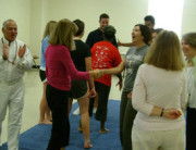 Guru Ranjit at Charlotte laughter yoga class.